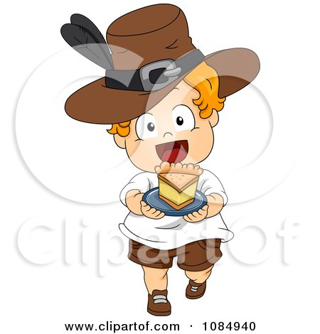 Clipart Thanksgiving Toddler Pilgrim Carrying A Slice Of Pie - Royalty Free Vector Illustration by BNP Design Studio