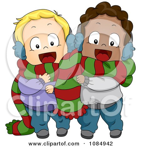 Clipart Christmas Toddlers Sharing A Scarf - Royalty Free Vector Illustration by BNP Design Studio