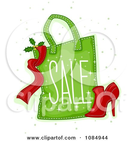 Clipart Green Christmas Sale Shopping Bag And Shoe - Royalty Free Vector Illustration by BNP Design Studio