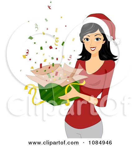 Clipart Christmas Woman Holding A Gift Box Of Confetti - Royalty Free Vector Illustration by BNP Design Studio
