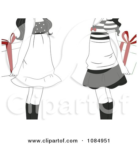 Clipart Black And White Gift Exchange Girls Holding Presents With Red Bows Behind Their Backs - Royalty Free Vector Illustration by BNP Design Studio
