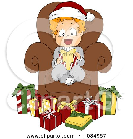 Clipart Christmas Toddler Sitting In A Chair Surrounded By Presents - Royalty Free Vector Illustration by BNP Design Studio