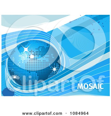 Clipart 3d Blue Mosaic Globe Waves And Text - Royalty Free Vector Illustration by elaineitalia