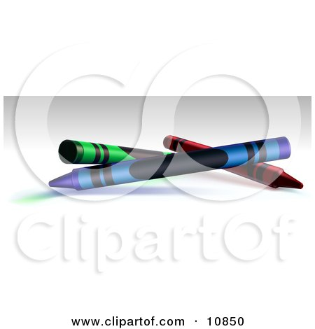Green, Blue and Red Crayons on a Shaded Background Clipart Illustration by Leo Blanchette