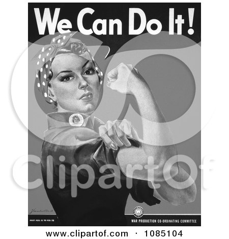 We Can Do It! Rosie the Riveter in Black and White - Royalty Free Stock Illustration by JVPD