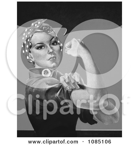 Rosie the Riveter in Black and White, No Text - Royalty Free Stock Illustration by JVPD