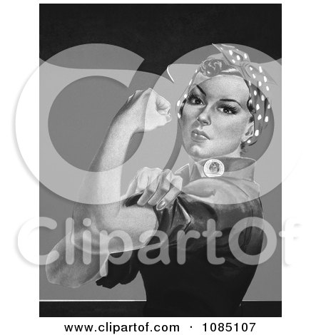 Rosie the Riveter Without Text, in Black and White - Royalty Free Stock Illustration by JVPD