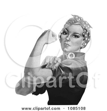 Rosie the Riveter on a White Background, Black and White - Royalty Free Stock Illustration by JVPD