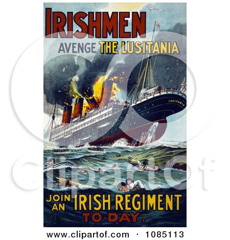 Irish Recruiting Poster to Avenge the Luistania - Free Illustration by JVPD
