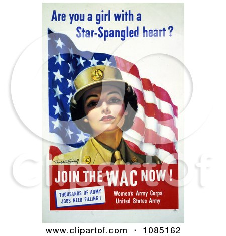 WAC Woman With American Flag - Free Stock Illustration by JVPD