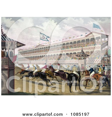 Group Of Anxious Jockeys Rushing Away From The Start Line At Jerome Park, New York - Royalty Free Stock Illustration by JVPD