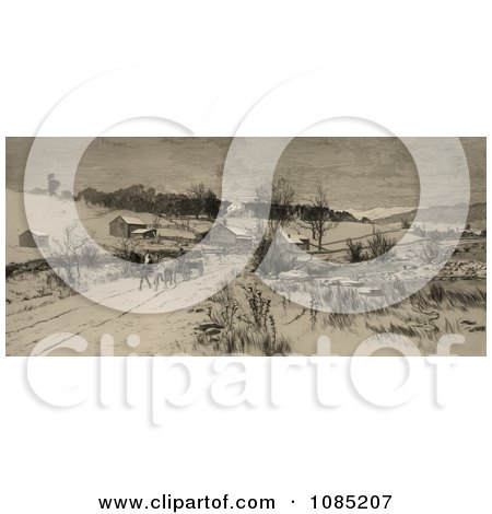 Man On A Horse Drawn Wagon, Traveling Through A Village In The Snow - Royalty Free Stock Illustration by JVPD