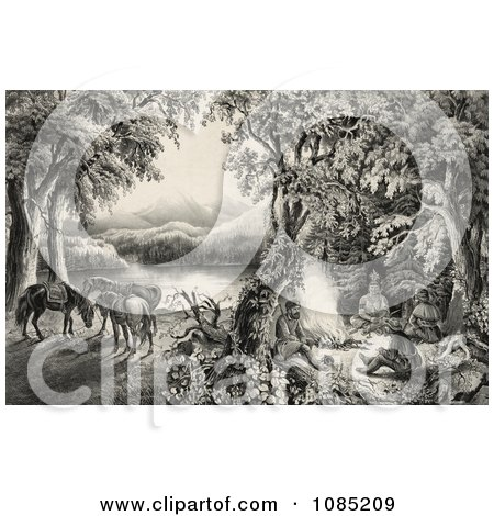 Four Male Campers Sitting Around A Fire With Their Horses In The Background - Royalty Free Stock Illustration by JVPD