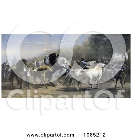 Men Walking With And Riding Black, Brown And White Horses At A Horse Fair - Royalty Free Stock Illustration by JVPD