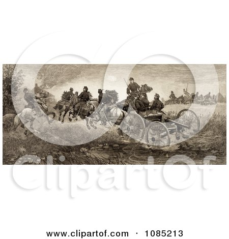 Soldiers And Horses Fighting In The Battle Of Chancellorsville, Virginia On May 3rd 1863 - Royalty Free Stock Illustration by JVPD