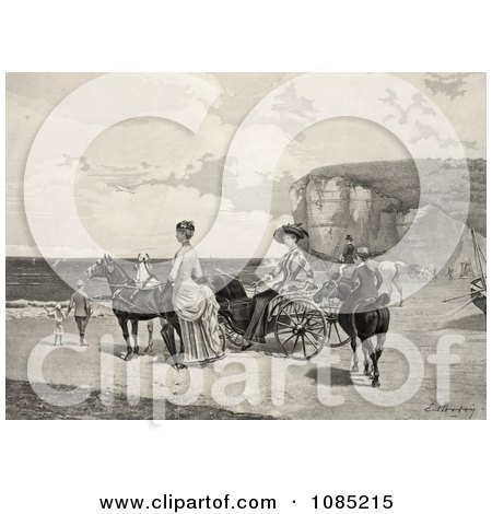 Two Beautiful Women By A Carriage On A Beach - Royalty Free Stock Illustration by JVPD
