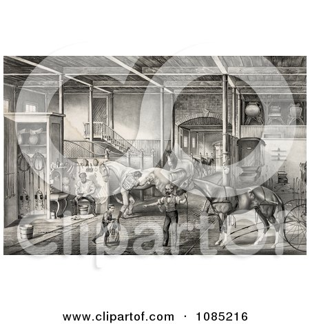 Child And Men Tending To Race Horses In A Stable - Royalty Free Stock Illustration by JVPD