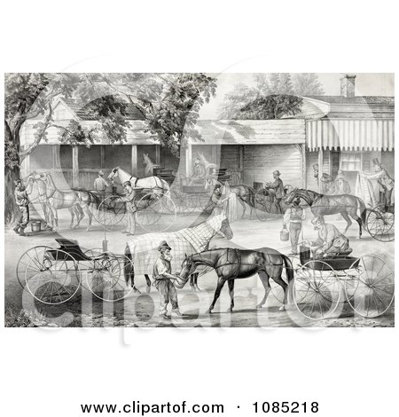 People Gathering Water For Their Hoses While Stopping In A Village - Royalty Free Stock Illustration by JVPD