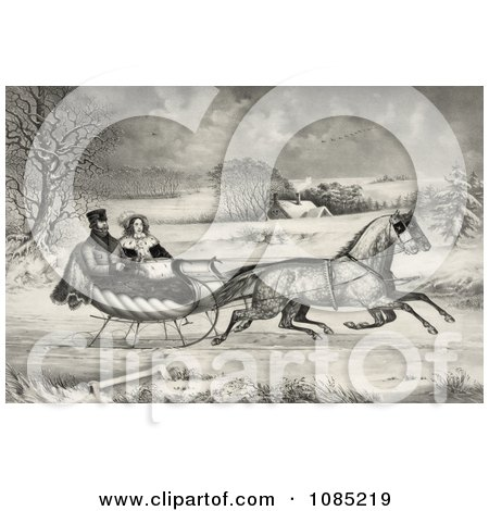 Man And Lady Riding In A Horse Drawn Sleigh On A Wintry Road - Royalty Free Stock Illustration by JVPD