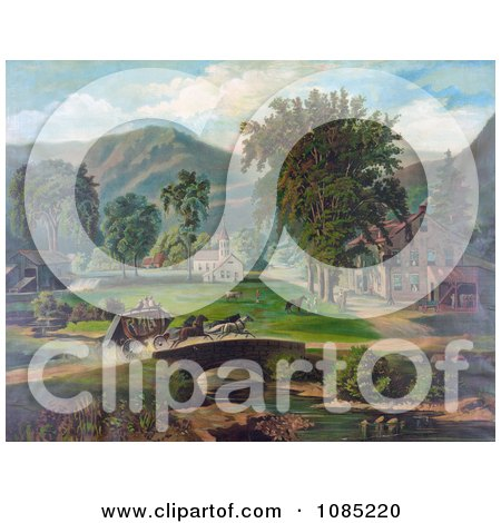 Fast Horses Pulling People Over A Bridge In A Stagecoach, On A Dirt Road Through A Village - Royalty Free Stock Illustration by JVPD