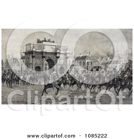 Napoleon I on Horseback With Cavalry Troops by the Arc de Triompe du Carrousel - Royalty Free Stock Illustration by JVPD