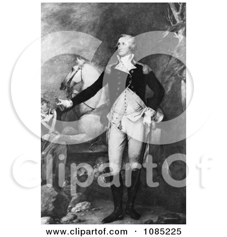 George Washington Standing Proud by a Horse - Royalty Free Stock Illustration by JVPD