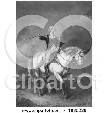 George Washington on Horseback, Holding His Hat and Sword - Royalty Free Stock Illustration by JVPD