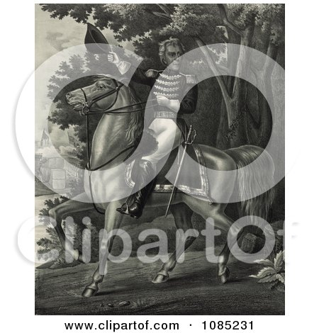 Andrew Jackson With the Tennessee Forces on the Hickory Grounds - Royalty Free Stock Illustration by JVPD