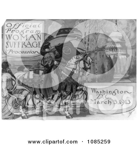 Official Program - Woman Suffrage Procession, Washington, D.C. March 3, 1913 - Free Stock Illustration by JVPD