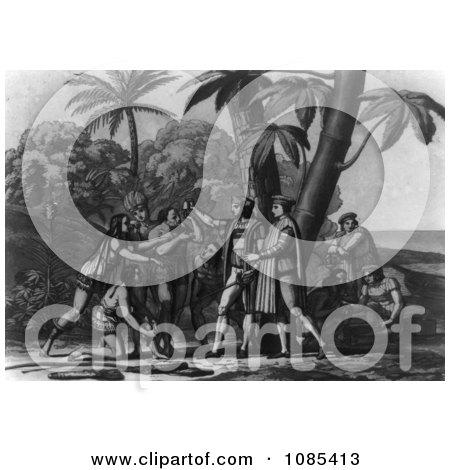 Landing of Columbus - Black and White Version - Free Historical Stock Illustration by JVPD