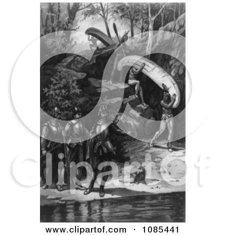 Champlain Exploring the Canadian Wilderness - Free Historical Stock Illustration by JVPD