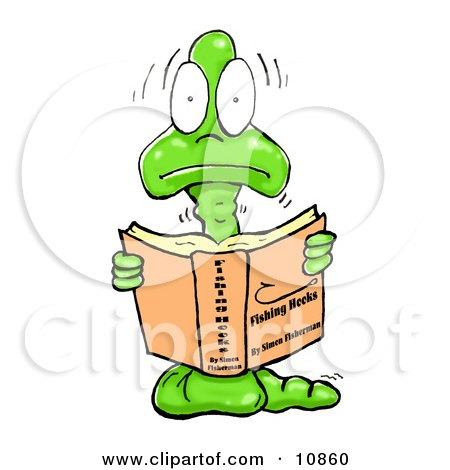 Male Green Worm Wearing A Tie And Reading A Book Clipart ...