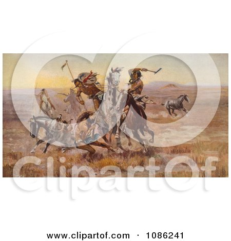 Sioux and Blackfeet Indian Battle - Free Historical Stock Illustration by JVPD