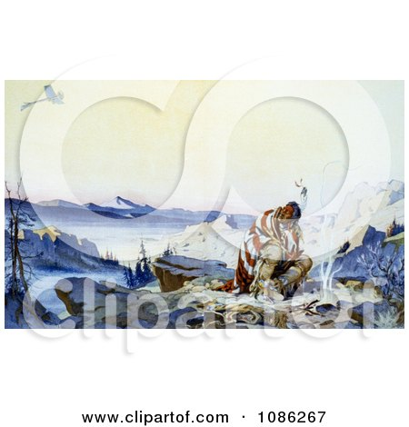 Native American Man in the Cold by a Fire Watching a Plane Fly Above - Free Historical Stock Illustration by JVPD