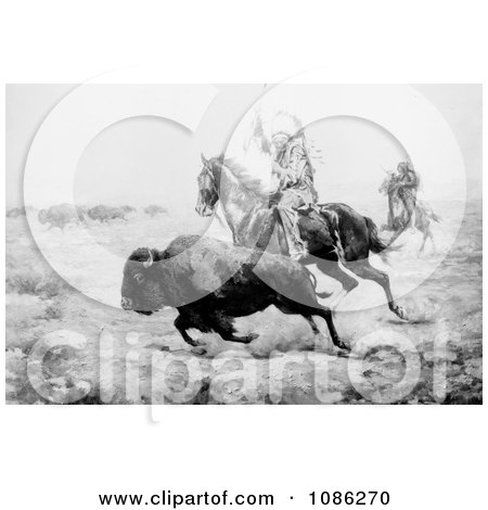 Native American Hunting Bison - Free Historical Stock Illustration by JVPD