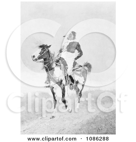Comanche Indian on an American Paint Horse - Free Historical Stock Illustration by JVPD