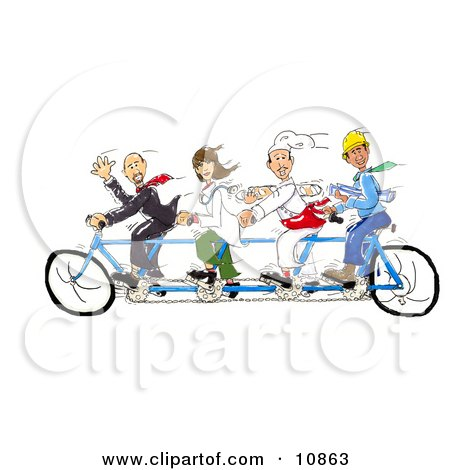 a Male Lawyer, Female Doctor, Male Chef and Male Contractor All Pedaling a Tandem Bicycle Posters, Art Prints