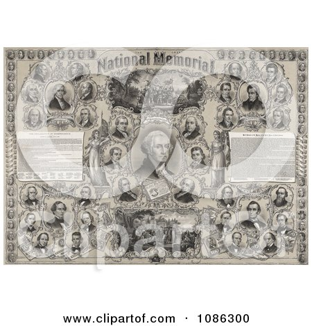 The Great National Memorial With American Presidents and Historical Events - Free Historical Stock Illustration by JVPD