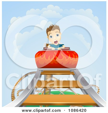 Clipart Terrified Boy Screaming On A Roller Coaster As It Heads Down - Royalty Free Vector Illustration by AtStockIllustration