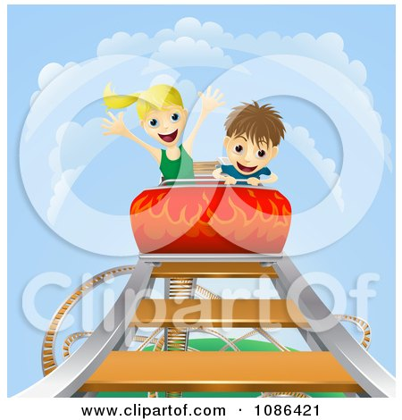 Clipart Boy And Girl On A Roller Coaster Ride - Royalty Free Vector Illustration by AtStockIllustration