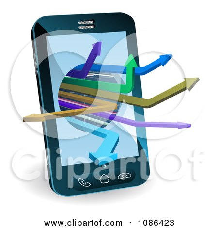 Clipart 3d Smart Cell Phone With Arrows Emerging - Royalty Free Vector Illustration by AtStockIllustration