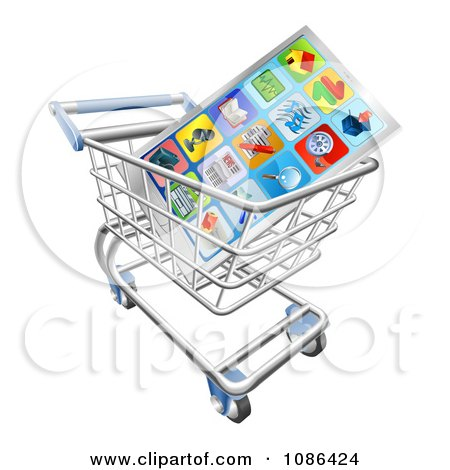 Clipart 3d Smart Phone And Apps In A Shopping Cart - Royalty Free Vector Illustration by AtStockIllustration
