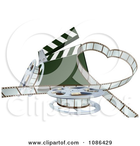 Clipart 3d Strip Of Movie Film In A Heart With A Clapper And Reels - Royalty Free Vector Illustration by AtStockIllustration