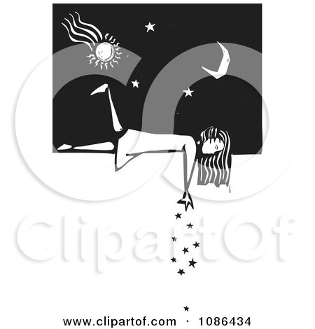 Clipart Girl Laying On A Wall And Dropping Stars Black And White Woodcut - Royalty Free Vector Illustration by xunantunich