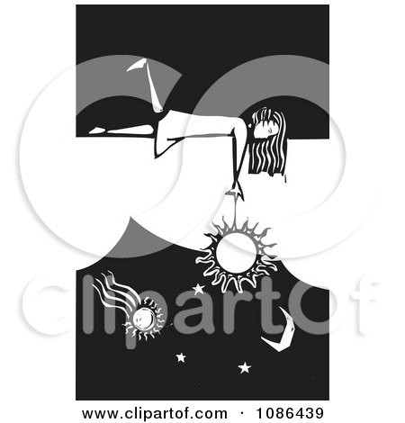 Clipart Girl Laying On A Wall And Dangling The Sun Black And White Woodcut - Royalty Free Vector Illustration by xunantunich