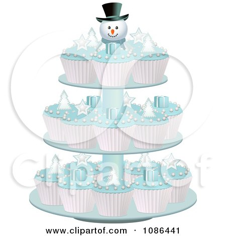 3d Christmas Cupcakes With Blue Icing On A Snowman Stand Posters, Art Prints