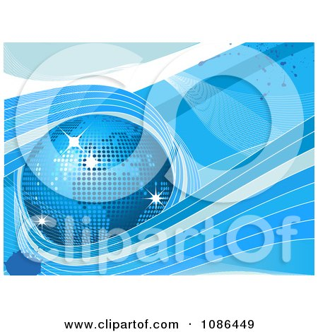 Clipart 3d Blue Mosaic Disco Globe On Grunge With Waves - Royalty Free Vector Illustration by elaineitalia