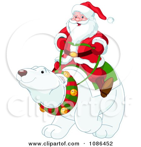 Clipart Santa Riding On A Friendly Christmas Polar Bear - Royalty Free Vector Illustration by Pushkin
