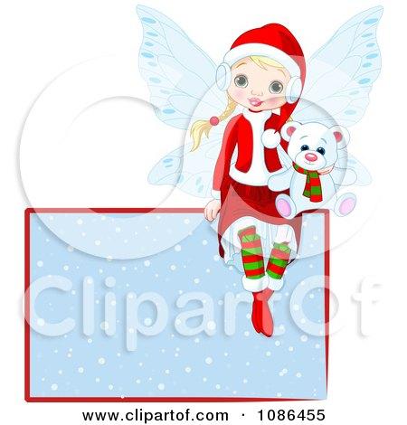 Clipart Christmas Fairy Sitting With A Polar Bear On A Snowy Sign - Royalty Free Vector Illustration by Pushkin