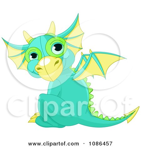 Clipart Cute Baby Green Dragon Sitting And Looking Back - Royalty Free Vector Illustration by Pushkin